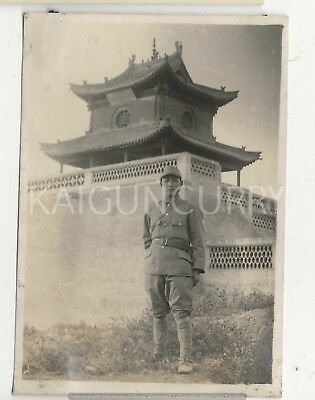 Original Wwii Japanese Photo: Army Soldier At Temple In China!!