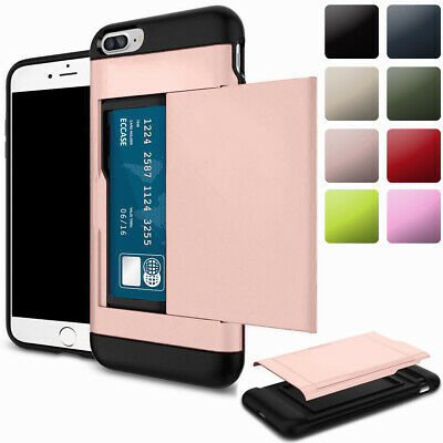 For iPhone 8 7 6 Plus Protective Armor Phone Case Cover With Hidden Card Holder