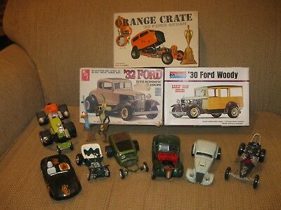 Vintage 1/25 Scale Junkyard LOT of Hot Rods and Gassers: Kits, Builts, Parts!