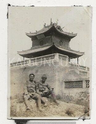 Original Wwii Japanese Photo: Army Soldiers, Chinese Castle!!