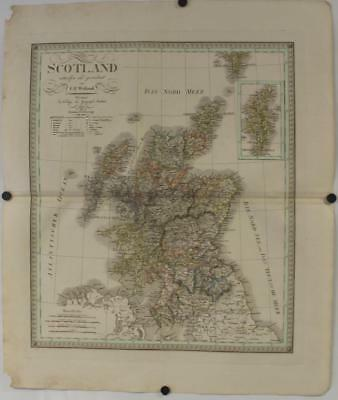 Scotland 1825 Carl Ferdinand. Weiland Large Antique Original Copper Engraved Map