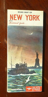 1954 New York  road map Tydol  Flying A  oil  gas Tide Water Historical guide