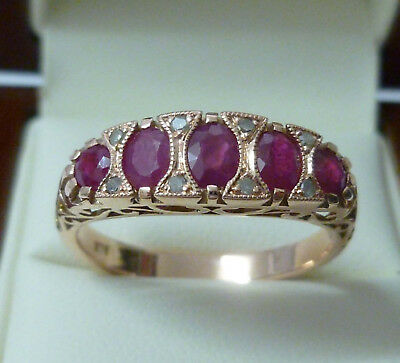 9ct Solid Rose Gold Ruby & Diamond Ring R156 Custom