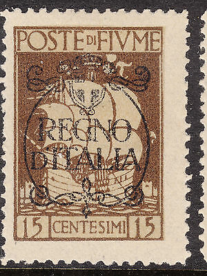 FIUME 1924 15c Ship Ovpt  Mint Hinged