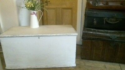 Victorian pine blanket box coffee table trunk