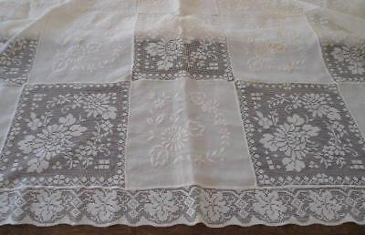 """Vintage Embroidered Army Navy Lace Banquet Tablecloth Linen Floral Wreath 90"""""""