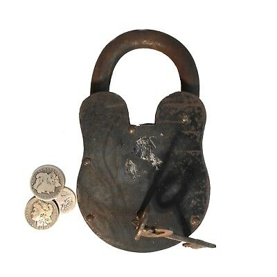 Giant Western Big Padlock Wrought Iron Huge 9.5 Inches Tall – 6 Pounds