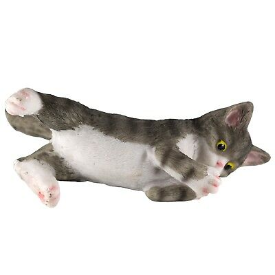 """Gray Striped Kitten Laying Playing Cat Figurine 4.25"""" Long Resin New"""