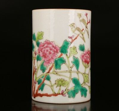 Precious Chinese Porcelain Painting Flower Brush Pot Home Decoration Collection