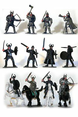 """VIKING TOY SOLDIERS PLAYSET 12 Figures 4 Horses Painted Plastic Set 2.5"""" Tall"""