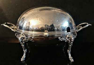 Superb Antique Large Browett Silver Plated Revolving Domed Top Breakfast Server