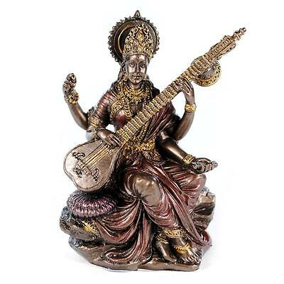 "SMALL SARASWATI STATUE 3"" Hindu Goddess Indian Deity NEW Miniature Resin India"