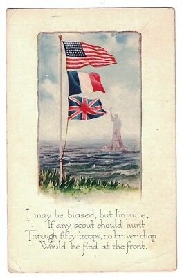 Antique Wwi Allied Flags Statue Of Liberty & Poem Postcard
