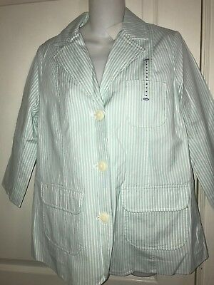 NWT Old Navy Maternity Aqua White Striped Jacket Blazer Lined Size M 100% Cotton