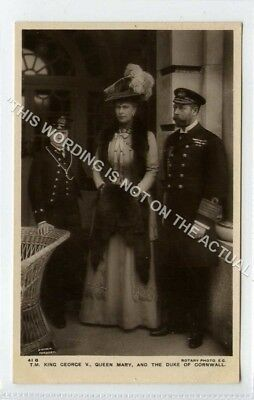 (Lf3379-493) RP, T.M. King George, Queen Mary, Duke of Cornwall  Unused G-VG