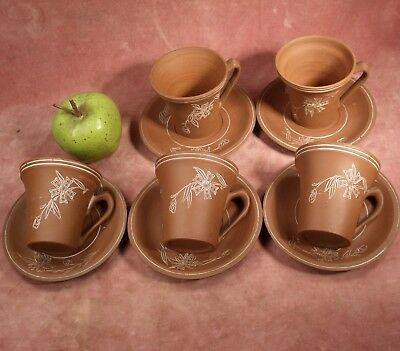 VINTAGE CHINESE YIXING BROWN POTTERY SET 5 CUPS SAUCERS hand etched & thrown