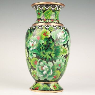 Precious Antique Chinese Cloisonne Enamel Vase Old Handmade Collection