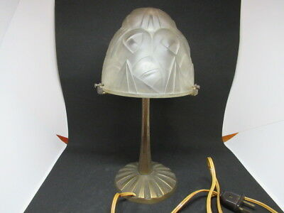 Rare Lampe Art Deco Signee DEGUE 1930 Dome Moderniste en Verre Moule