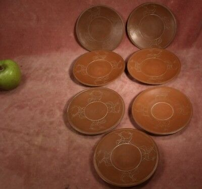 Vintage Set 7 X Chinese Yixing Brown Clay Plates / Saucers Etched Deer