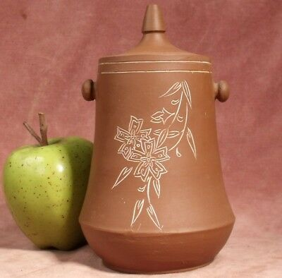 VINTAGE CHINESE YIXING BROWN POTTERY WATER POT TEA ? hand etched design.