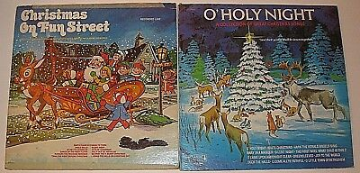 VINTAGE 2 LOT O' HOLY NIGHT CHRISTMAS ON FUN STEET VINYL LPs RECORDS ALBUMS LIVE