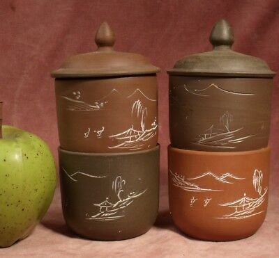 VINTAGE 4 x TEA BOWLS ETCHED DESIGN CHINESE YIXING BROWN POTTERY