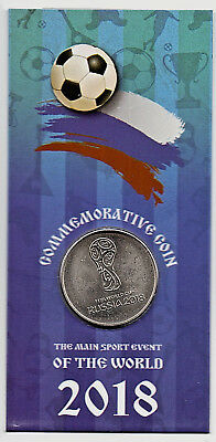 Russia 2018 World Cup Ruble Emblem Logo Silver Coin in Presentaion Blue Packet