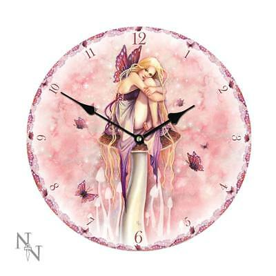 NEW Large 34cm Littlest Fairy Hanging Wall Clock Gothic Fantasy Butterflies Pink