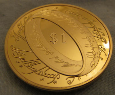 Lord of the Rings Gold Coin $1 New Zealand Fantasy Role Play Game Medallion Nice