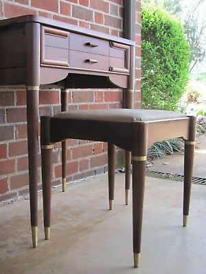 Vintage Mid Century Modern Desk and Stool By Singer
