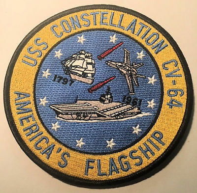 Large Embroidered Patch Uss Constellation Cv-64 Us Navy Aircraft Carrier *mint*