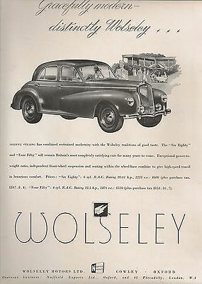 Wolseley Cowley Six-Eighty Saloon £600 Gracefully Modern 1949 Vintage Advert