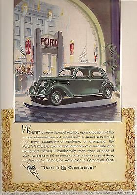 Ford Dagenham V-8 Saloon £210 No Comparison 1937 Vintage Advert - Rare