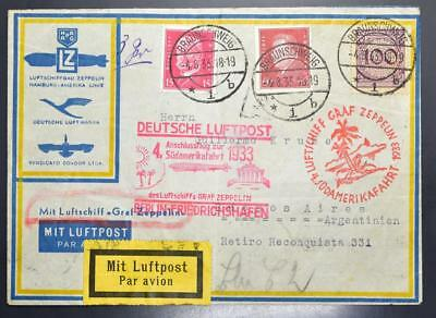 GERMANY to ARGENTINA 1933 ZEPPELIN, Rare Cover + Berlin connecting Flight LOOK