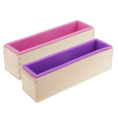 Flexible Soap Silicone Loaf Mold With Wood Box DIY Tool For Soap Cake Making
