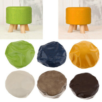 Wax Leather Waterproof Round Footstool Cover Little Stool Chair 28cm Dia