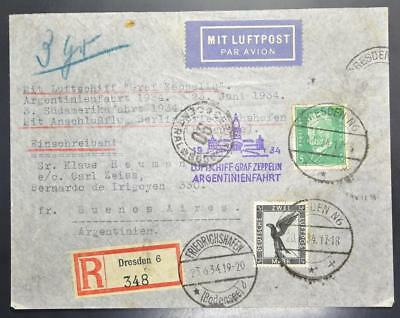 GERMANY to ARGENTINA 1934 ZEPPELIN, Rare Cover + Berlin connecting Flight LOOK