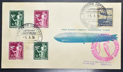 GERMANY to USA 1936 ZEPPELIN, Sets+ on Scarce 6th NAF Flight Cover , Deutschland