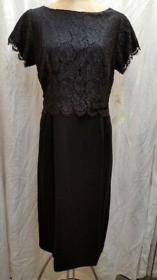 Vintage 1960's Black Rayon & Lace Cocktail Dress by Lit Brothers Size Medium NWT