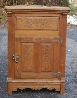 Antique GOLDEN Oak NORTHSTAR Icebox Incised Decoration & Raised Panels