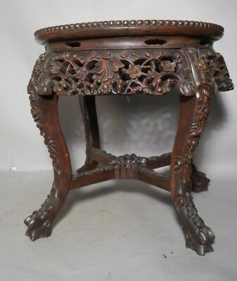 Antique Carved Teakwood CHINESE Tabouret Table w Pink Marble Top