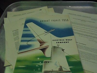 Vintage 1950 Electric Boat Company Annual Report and Letters