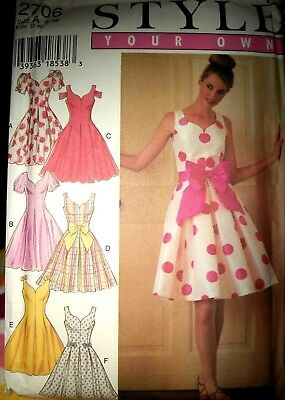 Style 2706 Pattern SIMPLICITY RETRO Rockabilly Full Dress UC Sz 6-8-10-12-14-16