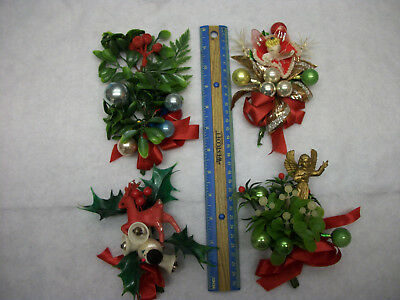 4 Vintage Handmade Plastic Mercury Glass Holly Angel Reindeer Christmas Corsages