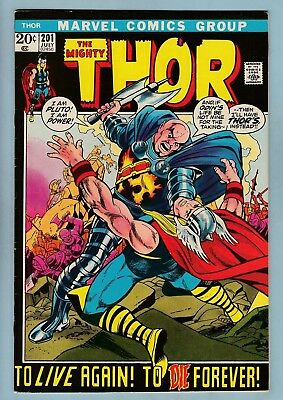 THOR # 201 FNVF (6.5/7.0)  HELA APPEARANCE - ORIGIN of EGO PRIME - 1972 - CENTS