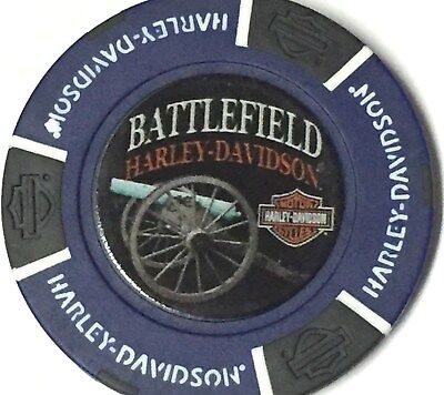 Harley Poker CHIP  BATTLEFIELD HD   GETTYSBURG, PA  115 YEAR ANNIVERSARY BLUE