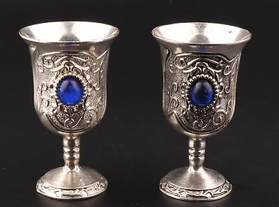 2 Rare Tibetan Silver Goblets Cup Decorated Mosaic Sapphire Collection