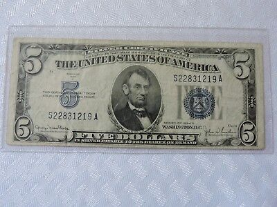 "1934-D United States Five ($5) Dollar ""Silver Certificate"" Blue Seal Note  #2"