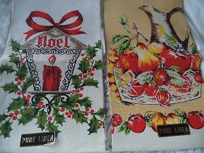 Vintage Pure Linen Christmas Hand Towel Lot Never Used Foil Stickers Attached