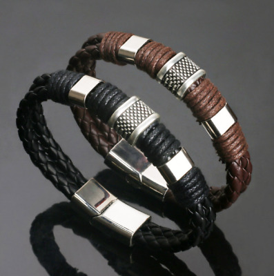 Mens Boys Leather Braided Wristband Bracelet Stainless Steel Bangle Wrap Black